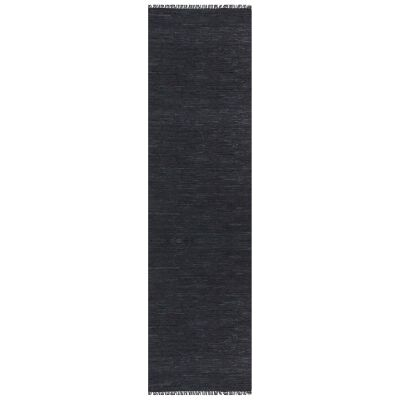 Gypsy Hand-tied Leather Runner Rug, 80x400cm, Black