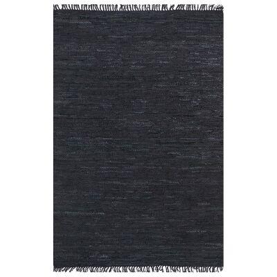 Gypsy Hand-tied Leather Rug, 150x220cm, Black
