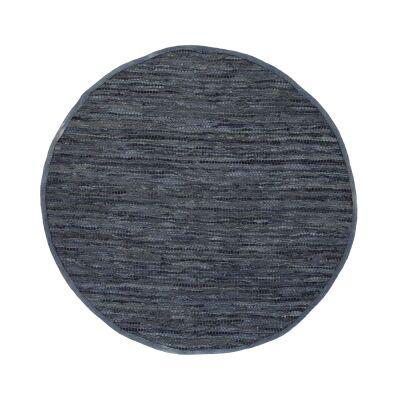 Gypsy Hand-tied Leather Round Rug, 160cm, Grey