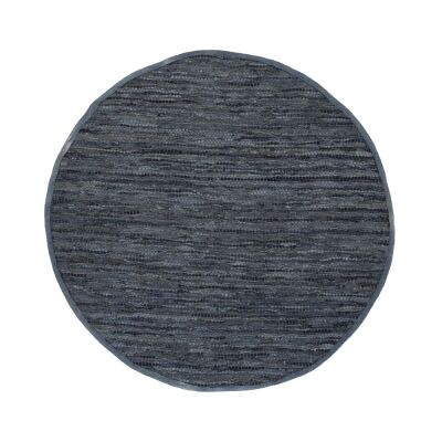 Gypsy Hand-tied Leather Round Rug, 200cm, Grey