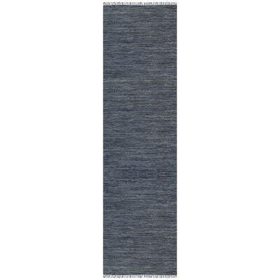 Gypsy Hand-tied Leather Runner Rug, 80x400cm, Grey