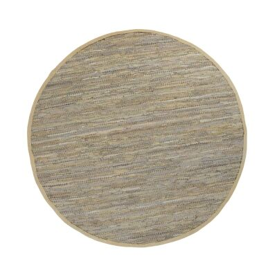 Gypsy Hand-tied Leather Round Rug, 200cm, Sage