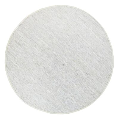 Gypsy Hand-tied Leather Round Rug, 160cm, White
