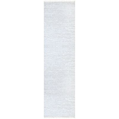 Gypsy Hand-tied Leather Runner Rug, 80x300cm, White