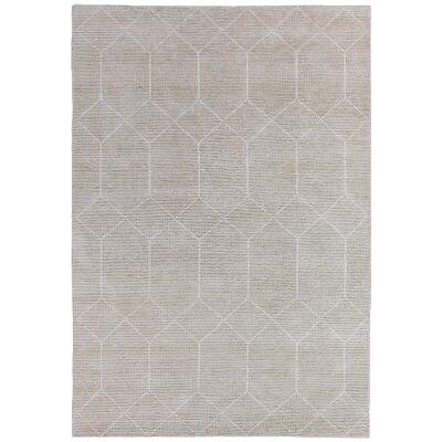 Geometrics Hand Knotted Wool Rug, 160x230cm, Silvery Beige
