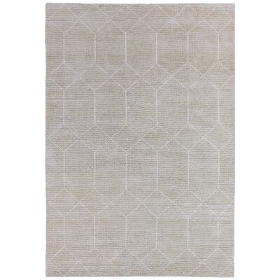 Geometrics Hand Knotted Wool Rug, 300x400cm, Silvery Beige