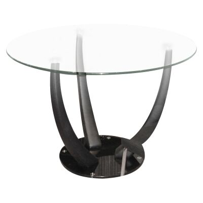 Mordor Glass Topped Vinyl Round Dining Table, 110cm