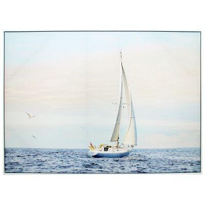 """""""Open Ocean Sailboat"""" Framed Canvas Wall Art Print, 110cm"""