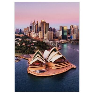 """""""Attractive Places"""" Framed Canvas Wall Art Print, Sydney Harbour, 110cm"""