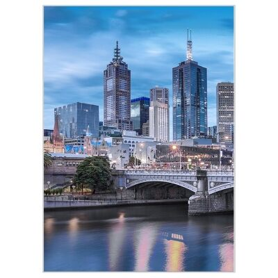 """""""Attractive Places"""" Framed Canvas Wall Art Print, Melbourne Skyline, 110cm"""