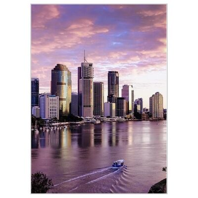 """""""Attractive Places"""" Framed Canvas Wall Art Print, Brisbane Sunset, 110cm"""