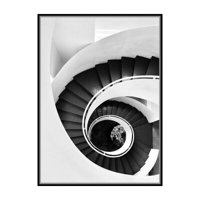 """""""Architectural Aesthetics"""" Framed Canvas Wall Art Print, Going Down Spiral, 110cm"""