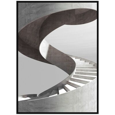 """""""Architectural Aesthetics"""" Framed Canvas Wall Art Print, Cyclone Stair, 110cm"""