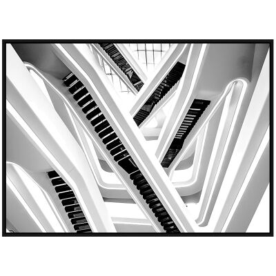 """""""Architectural Aesthetics"""" Framed Canvas Wall Art Print, Stair Labyrinth, 110cm"""