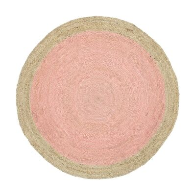 Hampton II Reversible Jute Round Rug, 240cm, Pink