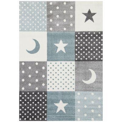 Nova Stars & Hearts Kids Rug, 160x230cm, Blue