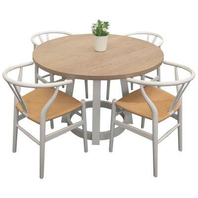 Havana 5 Piece Wooden Round Dining Table Set, 120cm