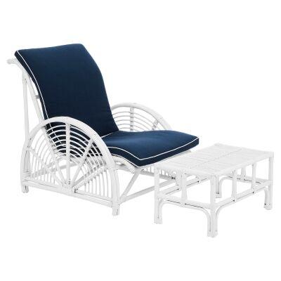 Havana Rattan Lounge Chair & Footstool Set, White
