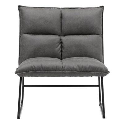 Cayman PU Leather Lounge Chair, Grey