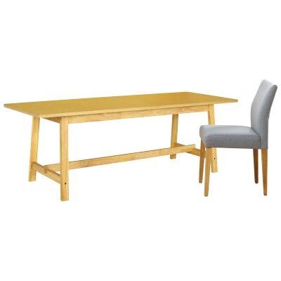 Heyne 7 Piece Wooden Trestle Dining Table Set, 220cm, with Grey Heyne Chairs