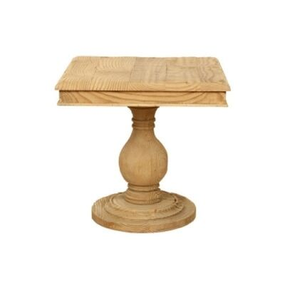 Canonbury Solid Pine Timber Square End Table, Natural