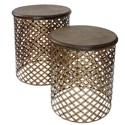 Cosala 2 Piece Metal Round Side Table Set