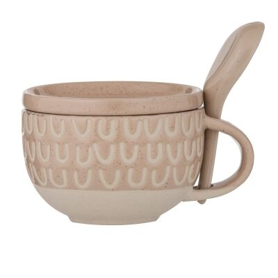 Kitson Ceramic Soup Mug with Lid & Spoon, Nude
