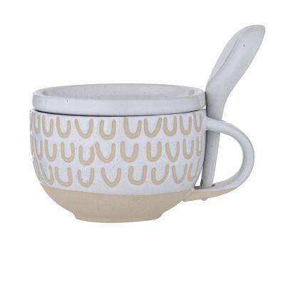 Kitson Ceramic Soup Mug with Lid & Spoon, White
