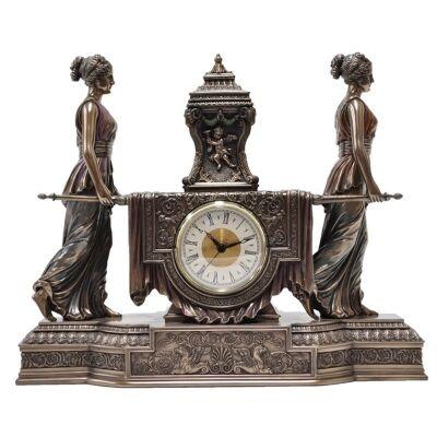 Cast Bronze Girls Carrying Altar Table Clock
