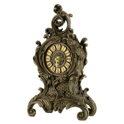 Veronese Cold Cast Bronze Coated Baroque Table Clock, Small