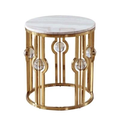 Melissa Marble Topped Metal Round Side Table