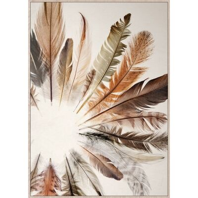 Feather Form Framed Canvas Wall Art Print, 140cm