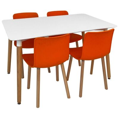 Heme 5 Piece Dining Table Set, 120cm, with Orange Heme Chair