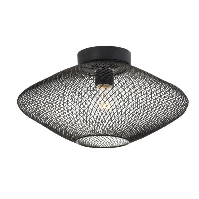 Henry Metal Mesh Batten Fix Ceiling Light, Black
