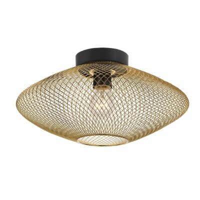 Henry Metal Mesh Batten Fix Ceiling Light, Gold