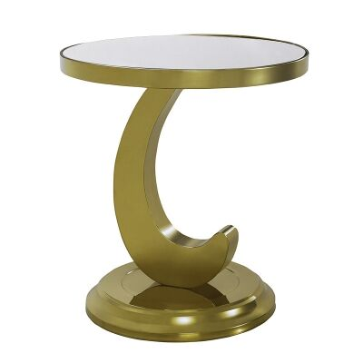 Borrello Glass Top Stainless Steel Side Table, Gold / White