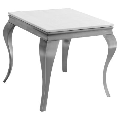 Tresor Faux Marble Top Stainless Steel Side Table, Nickel / White
