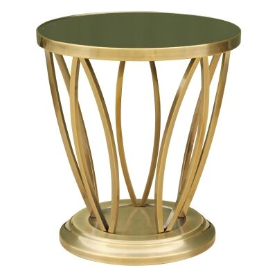 Maria Glass Top Stainless Steel Round Side Table, Gold / Black