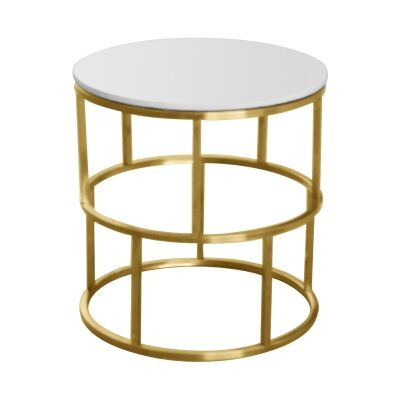 Menaio Faux Marble Top Stainless Steel Round Side Table, Gold / White