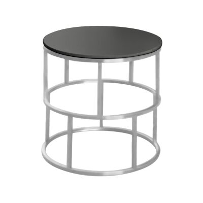 Menaio Glass Top Stainless Steel Round Side Table, Nickel / Black