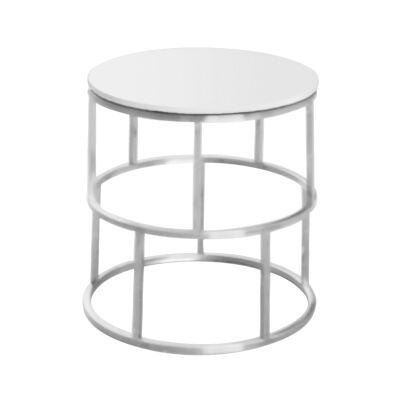 Menaio Faux Marble Top Stainless Steel Round Side Table, Nickel / White