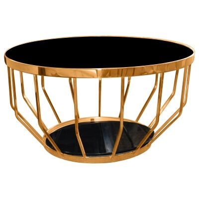 Marina Glass Top Stainless Steel Round Coffee Table, 80cm, Rose Gold / Black