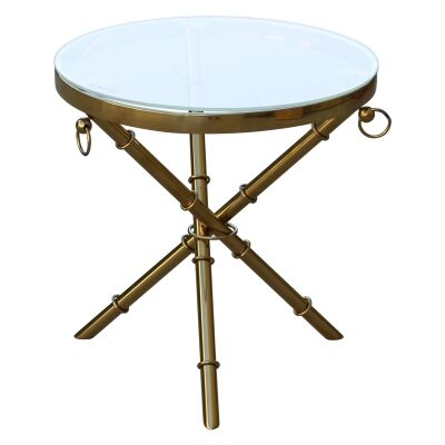 Castano Glass Top Stainless Steel Round Side Table, Gold / Clear