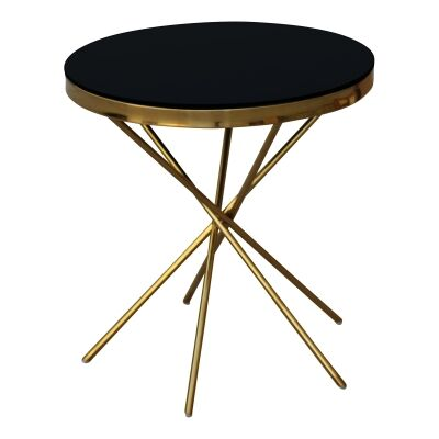 Olona Glass Top Stainless Steel Round Side Table, Gold / Black