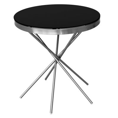 Olona Glass Top Stainless Steel Round Side Table, Nickel / Black