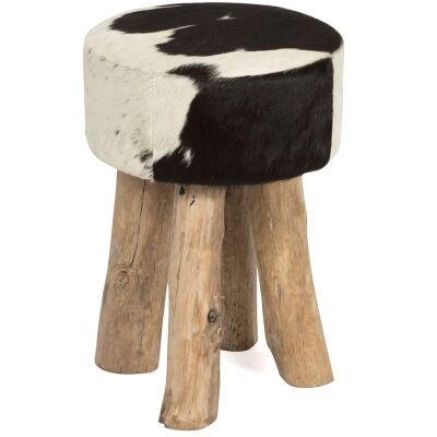 Lorenzen Cow Hide Round Stool with Timber Legs, Black/White