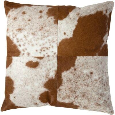 Lorenzen Cow Hide Scatter Cushion, Tan / White