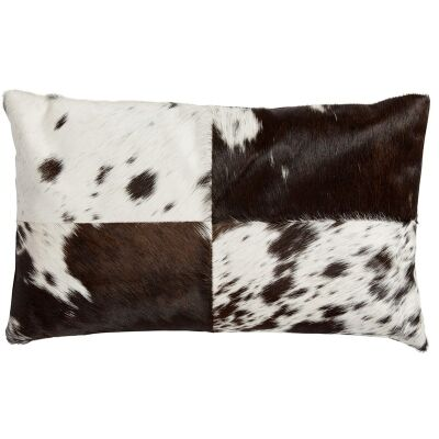 Lorenzen Cow Hide Lumbar Cushion,  Black / White