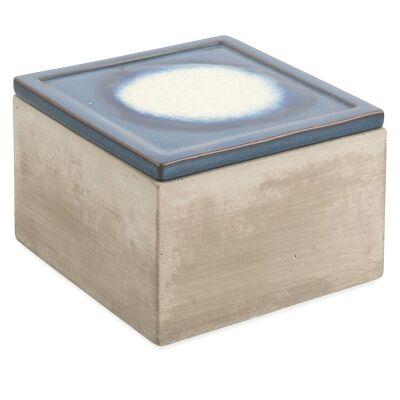 Batavia Cement Square Trinket Box with Ceramic Lid - Large