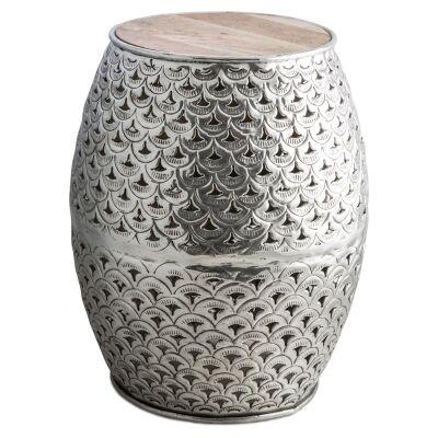 Charish Timber Top Cutout Aluminium Decor Stool / Side Table